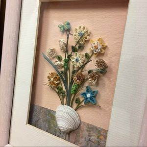 Vintage Wall Art - Artist Signed Floral Shell Quilled Art Shadow Box